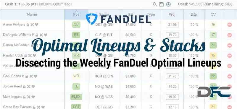 NFL Week 12: FanDuel Optimal Lineups & Stacks